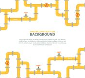 Industriële achtergrond met gele pijpleiding Olie, water of aardgasleiding met montage en kleppen stock illustratie