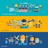 Industriële bannerreeks Stock Afbeeldingen