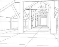 Industriële bouwconstructies binnen Vindende illustratie van 3d vector illustratie