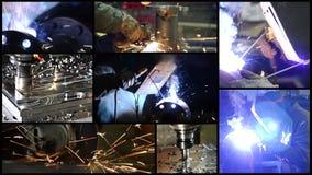 Industriële details Collage met inbegrip van malenmachines en mensen op het werk stock footage
