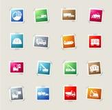 Industriële eenvoudig pictogrammen Stock Afbeeldingen