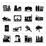 Industriële en geplaatste fabriekspictogrammen Royalty-vrije Stock Foto's