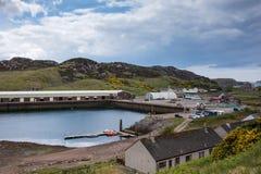 Industriële en visserijsectie van Scourie-haven, Schotland Royalty-vrije Stock Fotografie