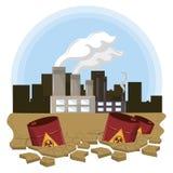 Industriële fabrieken met gevaarlijk afval stock illustratie