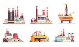 Industriële Gebouwen Vlakke Reeks stock illustratie
