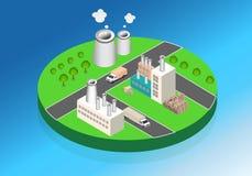 Industriële gebouwenfabrieken en boilers in perspectief Royalty-vrije Stock Fotografie