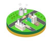 Industriële gebouwenfabrieken en boilers in perspectief Stock Afbeeldingen