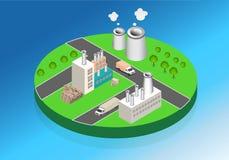 Industriële gebouwenfabrieken en boilers in perspectief Stock Afbeelding