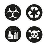 Industriële geplaatste luchtvervuilingspictogrammen Royalty-vrije Stock Foto