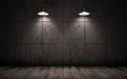 Industriële grungeachtergrond met de lichten van het verlichtingsplafond Stock Afbeelding