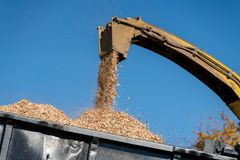 Industriële houten chipper in actie Stock Foto's