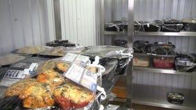 Industriële ijskasten voor opslag van salades en andere voedingsmiddelen stock videobeelden