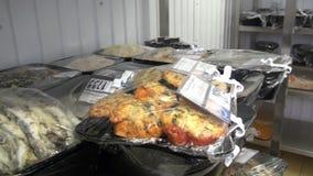 Industriële ijskasten voor opslag van salades en andere voedingsmiddelen stock video