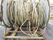 Industriële kabels voor visserij in spoelen stock afbeelding
