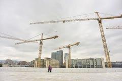 Industriële kranen die de stadsachtergrond bouwen van Oslo Stock Foto's