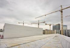 Industriële kranen die de stadsachtergrond bouwen van Oslo Royalty-vrije Stock Fotografie