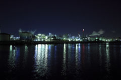 Industriële nachtmening Stock Foto's