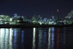 Industriële nachtmening Royalty-vrije Stock Foto's