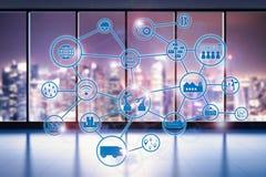 Industriële netwerk virtuele vertoning Royalty-vrije Stock Afbeelding