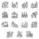 Industriële objecten geplaatste lijnpictogrammen Royalty-vrije Stock Afbeeldingen