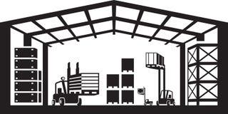 Industriële pakhuisscène stock illustratie
