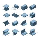 Industriële pictogrammenreeks van metallurgische productie Isometrische beelden van staal of ijzerpijpen vector illustratie