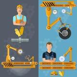 Industriële robot van transportband de verticale banners stock illustratie