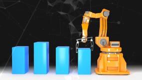Industriële robotachtige wapens met het lege transportband 3D teruggeven stock footage