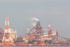 Industriële scèneachtergrond Landschap van de industrie bij haven Stock Foto