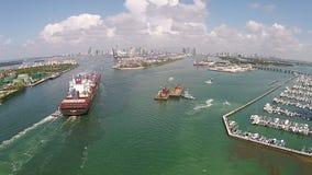 Industriële schip luchtmening stock video