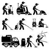 Industriële Schoonmakende Arbeider met Hulpmiddelen en Materiaal Clipart stock illustratie
