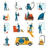Industriële Schoonmakende Geplaatste de Dienst Vlakke Pictogrammen Stock Foto's