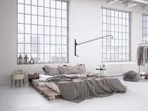 Industriële slaapkamer het 3d teruggeven Stock Afbeelding