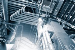 Industriële Staalpijpleidingen, kleppen en maten royalty-vrije stock afbeelding
