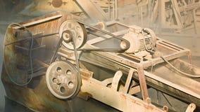 Industriële stoffige oude roestige machines Stenen maalmachine in actie stock footage