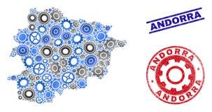 Industriële van Collage Vectorandorra de Kaart en van Grunge Verbindingen stock illustratie