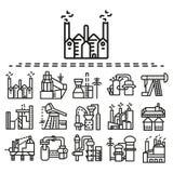 Industriële vlakke geplaatste lijnpictogrammen Stock Afbeeldingen