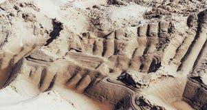 Industriële zandsteengroeve Zandkuil Bouwnijverheid stock afbeeldingen