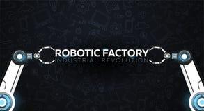 industri 4 0 baner med den robotic armen Smart industriell revolution, automation, robotassistenter också vektor för coreldrawill stock illustrationer