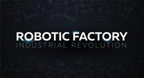 industri 4 0 baner Smart industriell revolution, automation, robotassistenter också vektor för coreldrawillustration royaltyfri illustrationer