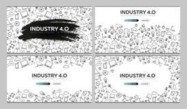 industri 4 0 baner Smart industriell revolution, automation, robotassistenter också vektor för coreldrawillustration stock illustrationer