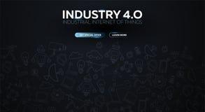 industri 4 0 baner Smart industriell revolution, automation, robotassistenter också vektor för coreldrawillustration vektor illustrationer