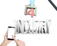 industri 4 0 begrepp, hand genom att använda smartphonen som kontrollerar roboten ar Arkivbilder