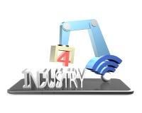 industri 4 0 begrepp, illustration 3D Royaltyfri Fotografi