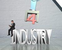 industri 4 0 begrepp, man som använder minnestavlan som kontrollerar robotarmen Arkivbild