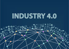 industri 4 0 illustrationbakgrund Internet av sakerbegreppet som visualiseras av jordklotwireframe Royaltyfri Fotografi