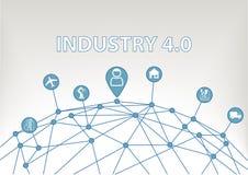 industri 4 0 illustrationbakgrund med den världsraster och konsumenten förband till apparater som industrianläggningar, robotar Royaltyfria Bilder