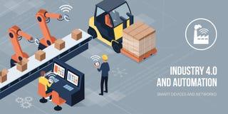 industri 4 0 och automation vektor illustrationer