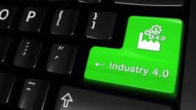 industri 4 0 rörande rörelse på knappen för datortangentbord stock illustrationer