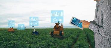 Industria astuta 4 di agricoltura di Iot La parola di colore rosso situata sopra testo di colore bianco Compressa di uso dell'agr fotografia stock libera da diritti